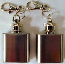 2 SQUARE METAL FLASK KEY CHAINs stash drinking can small drink flasks keychains