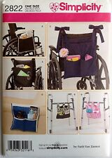 Simplicity Sewing Pattern 2822 Wheelchair Walker Organizer Bag Pouch Carrier
