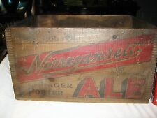 NARRAGANSETT RI USA ALE BEER WOOD GLASS BOTTLE ART ADVERTISING SIGN BOX CRATE NY