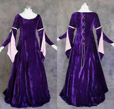 Purple Velvet Medieval Renaissance Gown Costume LOTR Cosplay LARP Wedding L