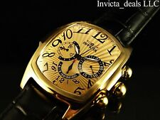 Invicta Men's 50mm Dragon Lupah ISA Quartz Gold Tone Leather Strap SS Watch