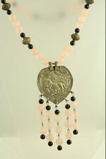 VINTAGE Chinese ASIAN  12.15mm PINK QUARTZ NATURAL BEAD TRIBAL NECKLACE DANGLE -