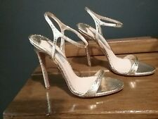 Genuine Prada Gold Snakeskin Leather Diva Shoes Size 5.5 Exquisite  Worn Once