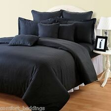 BLACK STRIPE DOUBLE SIZE BED / FLAT SHEET + 2 PILLOW CASES (3-PIECE SET)