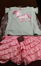 NWT Lemon Loves Lime mint unicorn shirt & light pink ruffle shorts size 10 set