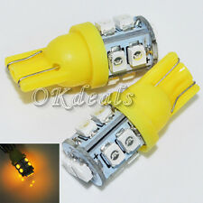 2pcs Yellow Super Bright T10 10-SMD 194 168 W5W 0.6W 6500K 30-LM LED Bulb Lamp