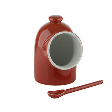 BIA SCOOP Salt Keeper Pig with Spoon Red Stoneware Pot Container Canister New