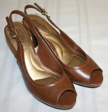 Womens Ladies Dex Flex by Dexter Brown Open Toe Sling Back Heels Shoes Size 8