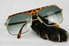 Cazal 730 Large 60-15 Vintage Sunglasses Brown Gold Green Lenses Lunettes (RARE)