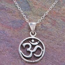 "925 sterling silver OHM SYMBOL Aum Om Charm Yoga Mantra Pendant 18"" Necklace"