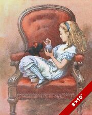ALICE IN WONDERLAND TALKING TO KITTY CAT LEWIS CARROL CANVAS PAINTING ART PRINT