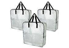 3x IKEA DIMPA clear Reusable Shopping STORAGE BAG. Heavy duty with zipper.