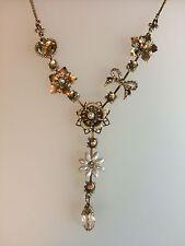 """Stile Vintage Oro Argento 18"""" Pendente Fiore Arco Goccia Collana Da Sposa Nuovo senza etichetta"""