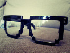 Mario black Oversized Vintage Nerd Geek Fashion Pixelated Glasses
