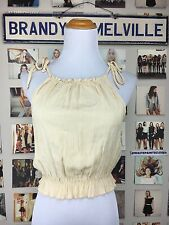 New Brandy Melville Yellow white Striped Ruffle Trim Self Tie Carly Tank Top Nwt