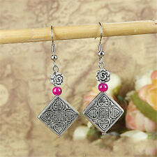 New Vintage Natural Faux Turquoise Cute Tibet Square Silver Hook Women Earrings