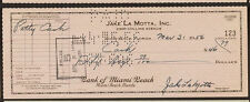 Jake LaMotta Signed Check! Raging Bull!