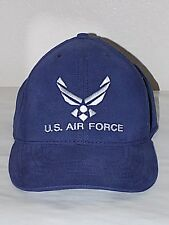 Sharp White Embroidery U S AIR FORCE Logo Velcro Back Strap Cap Hat Navy Blue