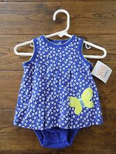 Just One You Carter's Baby Girl Blue Floral Dress Romper Green Butterfly 3 Mon