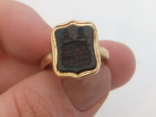 15ct/ 15k gold Victorian blood stone armorial seal ring, 625