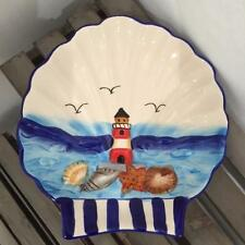 nuevo SHELL náutica CHINA placa plato en azul y blanco con Faro - cocina