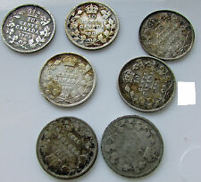 Canada 10 Cents  1902 1902H 1903H 1904 1905 1909 X2 Edward VII Silver Dime Lot