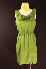 ANTHROPOLOGIE EDME & ESYLLTE GREEN RUFFLE FRONT POCKET DRESS SZ8 DRY CLEAN