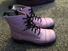 Pink Anarchic Combat Boots Size 10 Women's Lace Up And Side Zipper
