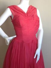 Vintage 1950's Coral Pink Party Prom Tull Chiffon Nylon Dress-Youth / XS