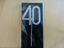 SILVER NUMBER 40 CUP CAKE PICK TOPPER BIRTHDAY DECORATION 40TH DIAMANTE SPARKLY