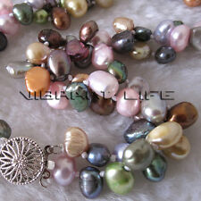 """18"""" 6-8mm Multi Color 2Row Baroque Freshwater Pearl Necklace Jewelry U"""