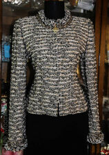 MINT!! ST JOHN COUTURE BLACK w MULTI-COLOR/SHIMMER RHINESTONES JACKET SZ 8