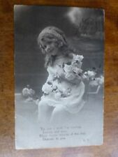 R116 MANY HAPPY RETURNS Little Girl Greetings Postcard c1920 BROMO GILT BIRTHDAY