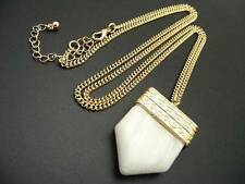 "$18 Carole White Stone Pendant Tooth Chevron Arrowhead 33"" Long Chain Necklace"