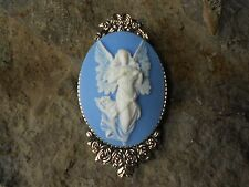 FLYING GUARDIAN ANGEL CAMEO BROOCH- PIN - RELIGIOUS - UNIQUE -