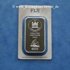 Silberbarren Silbermünzbarren 100 Gramm 100g Fiji Argor-Heraeus 2015 1$