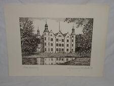 Steindruck Schloß Ahrensburg Lithographie orig. Radierung M. Bloch (3014)