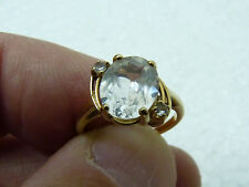 Vintage English 10K Gold Ring with Oval B 2-3 Carat Pink Amethyst w/2 Small ones