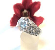Pompöser Moderner Ring 925 er Silber mit weißen Stein Fingerring / be 922