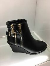 WOMENS LADIES BLACK QUILTED BUCKLE ANKLE BOOTS CASUAL HIGH WEDGE HEEL SIZE 5