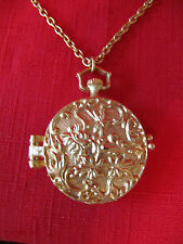 Vintage creme/solid PERFUME Pocket Watch Shape & Chain Necklace w/Mermaid Inside