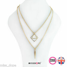 NEW Double Gold Square Multi Layer Necklace Chain Pendant Ladies Womens Chic UK