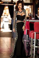 New Lace Mesh Cutout Long Sleeve Evening Prom Party Dress Size 8-10