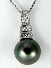 """8.60MM GENUINE TAHITIAN PEARL PENDANT SOLID 925 SILVER CZ (18"""" CHAIN INCLUDED)"""