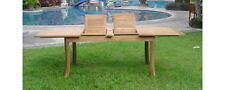 """Grade-A Teak Wood 117"""" Double Extension Rectangle Dining Table Outdoor Patio New"""