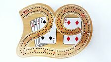 SOLID WOOD TRAVEL SIZE 29 CRIBBAGE BOARD 2 TRACK WITH METAL PEGS & STORAGE
