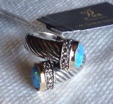 NWT Or Paz Creations Sterling Silver 14K Gold Opal Bypass Ring Sz 8 Israel
