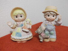 VINTAGE HOMCO  PAIR of MULTI-COLOR GIRL/DOLL & BOY/BEAR FIGURINES ..#1403...