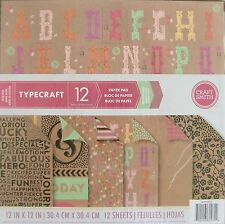 "Craft Smith TYPECRAFT Paper Pad 12 DOUBLE-SIDED Cardstock 12"" x 12"" Scrapbook"