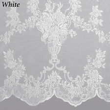 Carly Lace Curtain Panel with Attached Valance & Tassels - Assorted Colors